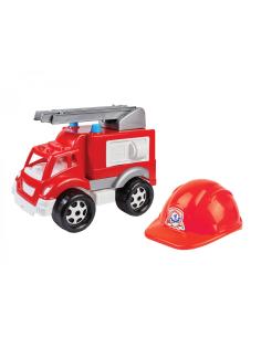 Technok stumdomas gaisrinės automobilis su šalmu
