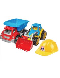 Technok rinkinys - traktorius ir sunkvežimis su šalmu