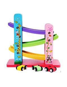 Medinis žaislas garažas su mašinėlėmis