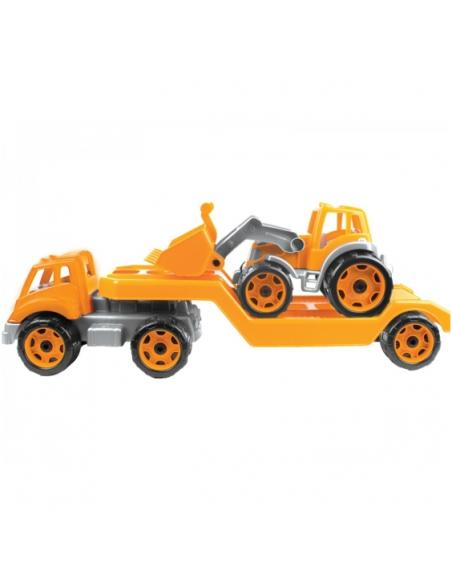 Technok vilkikas ir traktorius su kastuvu